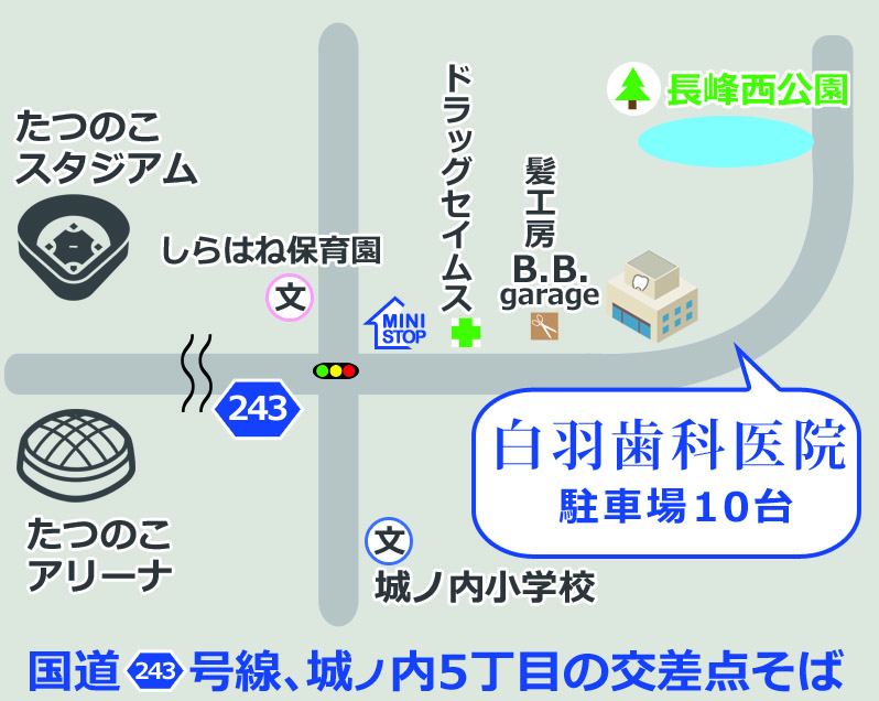 龍ヶ崎の歯医者白羽歯科医院のマップ